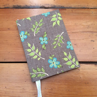 Small Notebook with a Leaf Design Fabric Covering