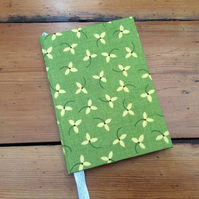 Small Handmade Notebook Covered in a Leaf Design Fabric