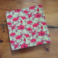 Handmade Square Sketchbook in a Poppy Fabric