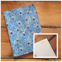 Address Book Covered in a Peacock Feather Fabric