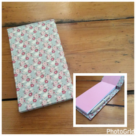 Handbound Jotter Notebook with Pencil Covered in a Tilda Fabric