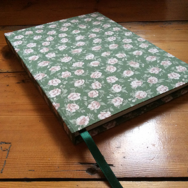 Large Handbound Notebook Covered in a Green Floral Fabric