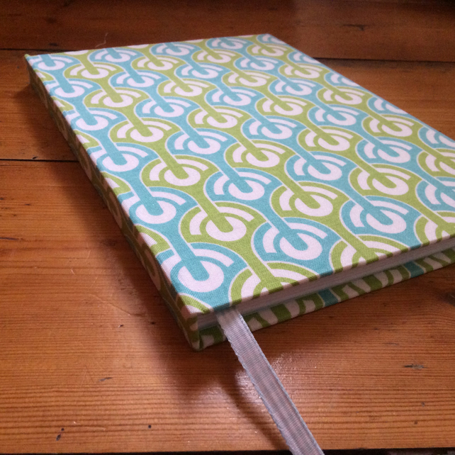 Large Handmade Notebook covered in a Geometric Fabric