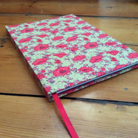 Large Handmade Notebook covered in a Poppy Fabric