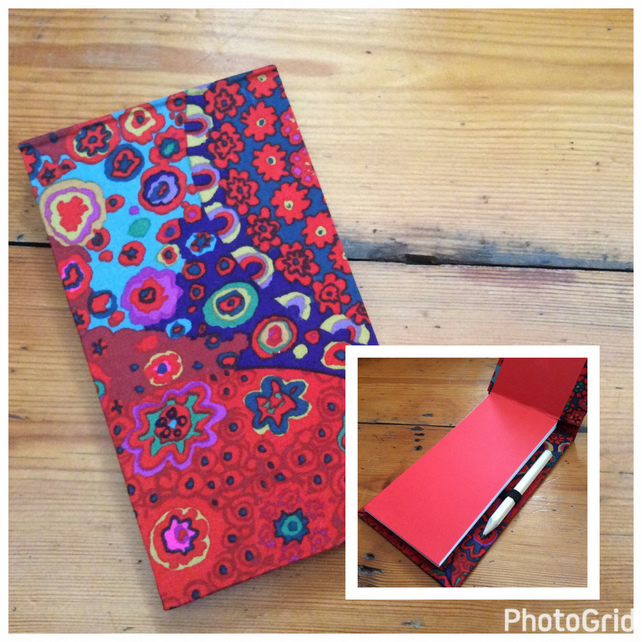 Handbound Jotter Notebook with Pencil Covered in a Kaffe Fassett Fabric