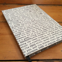Large Handmade Notebook Covered in Words