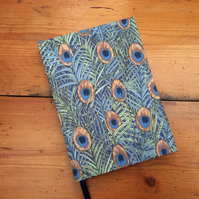Small Handbound Notebook in a Blue Peacock Feather Fabric
