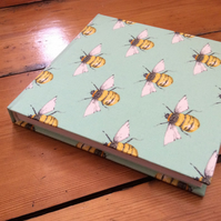 Handmade Square Sketchbook in a Bee Fabric