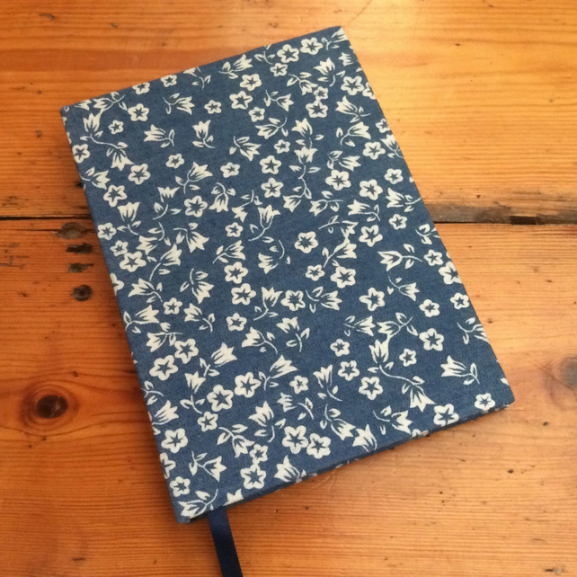 Small Notebook in a Denim Blue Floral Fabric
