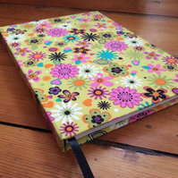 Large Handmade Notebook covered in a Bright Abstract Floral Fabric