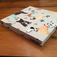 Handmade Square Sketchbook in a Dog Design Fabric
