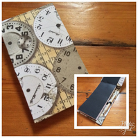 Handbound Jotter Notebook with Pencil Covered in a Timepieces Fabric