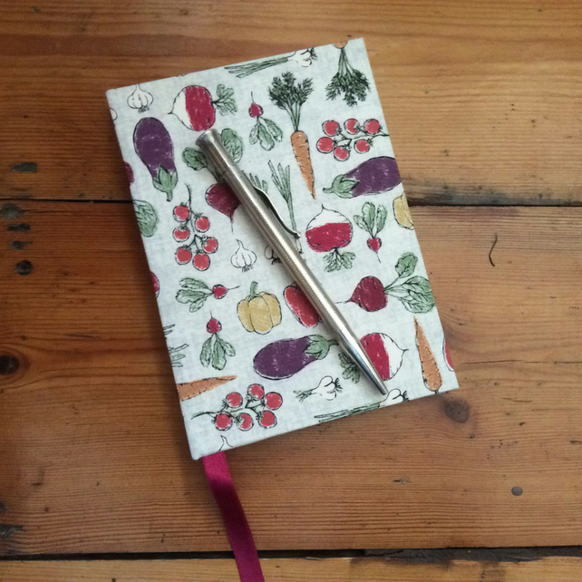 Small Notebook Covered in a Vegetable Design Fabric