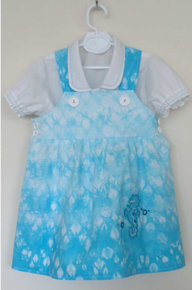 Tie Dye sundress OUTFIT with seahorse applique