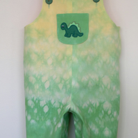 Tie Dye dungarees with dinosaur applique