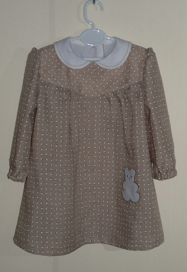 Vintage style Best Dress with Teddy Bear applique.