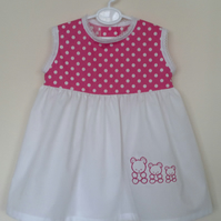 Spotty sundress with embroidered Teddies