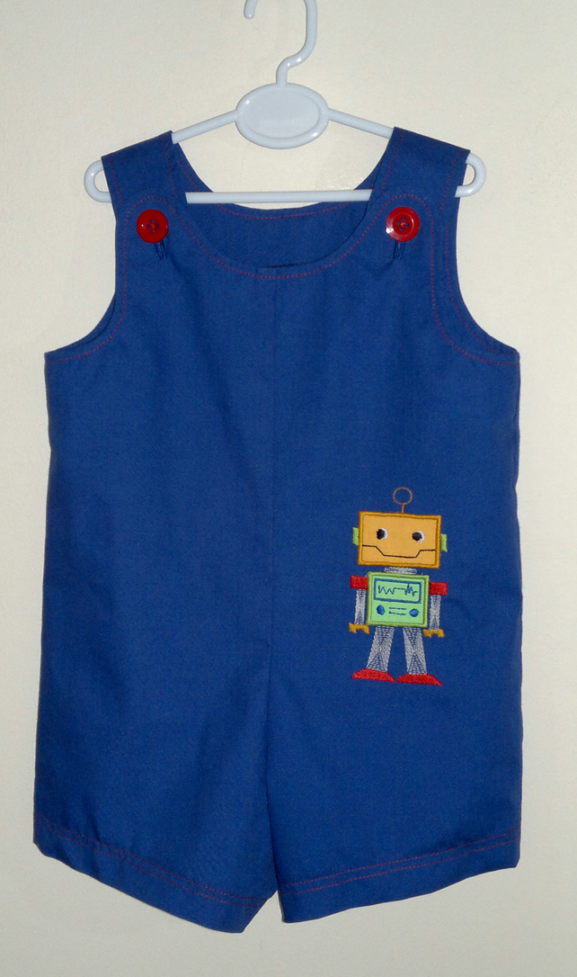 Short dungarees with robot applique