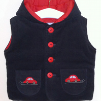 Hooded Needlecord Gilet with Car applique