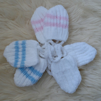 Baby mittens with strings, to match Baby Beanies
