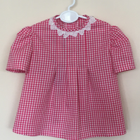 Short Sleeved Gingham Tunic - Top