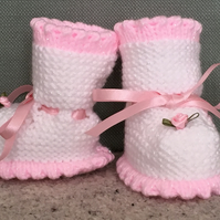 Sparkly Rosebud Knitted Booties