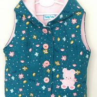 Hooded Gilet with Teddy Applique