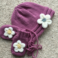 Pink Flower Beanie with matching Mittens