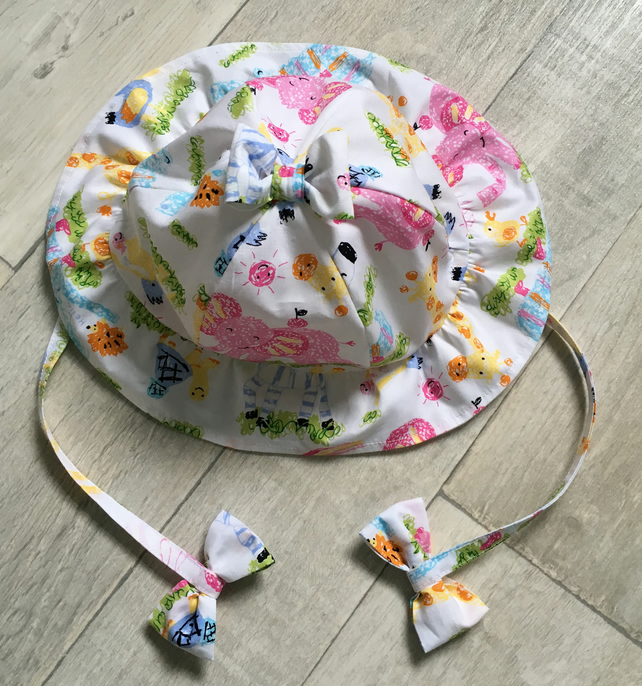 Pink Elephant Frilly Sunhat