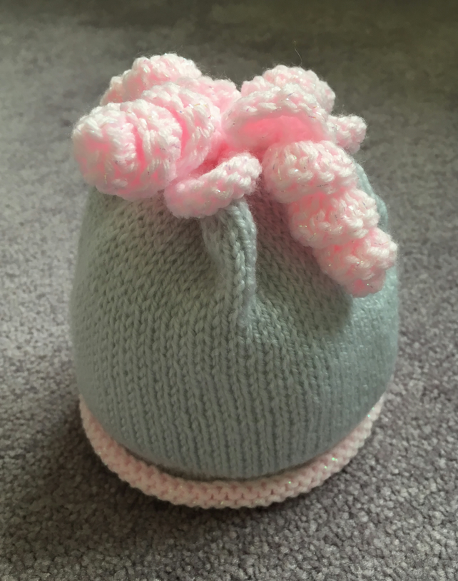 Newborn Hand Knitted Beanie in grey & pink