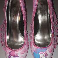 Uk size 6  alice in wonderland customised recycled shoes pink princess
