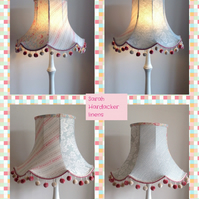 Flared scallop lampshade made up in Sarah Hardacker linens