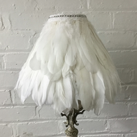 Lampshade with feathers and diamanté