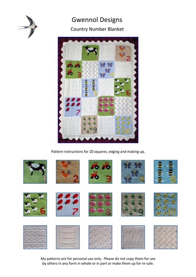 Country Number Baby Blanket PDF Knitting Pattern