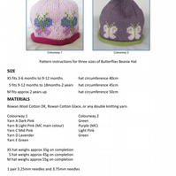 Butterflies Beanie Hat PDF Knitting Pattern