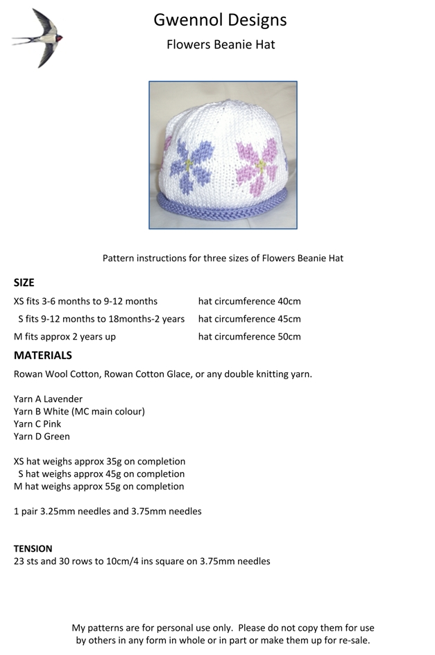 Flowers Beanie Hat PDF Knitting Pattern