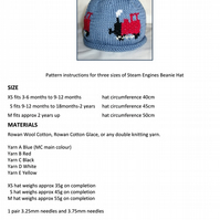 Steam Engines Beanie Hat PDF Knitting Pattern