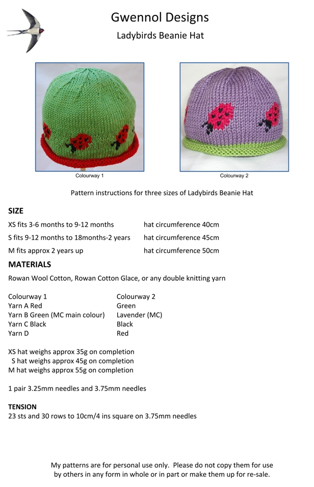 Ladybirds Beanie Hat PDF Knitting Pattern