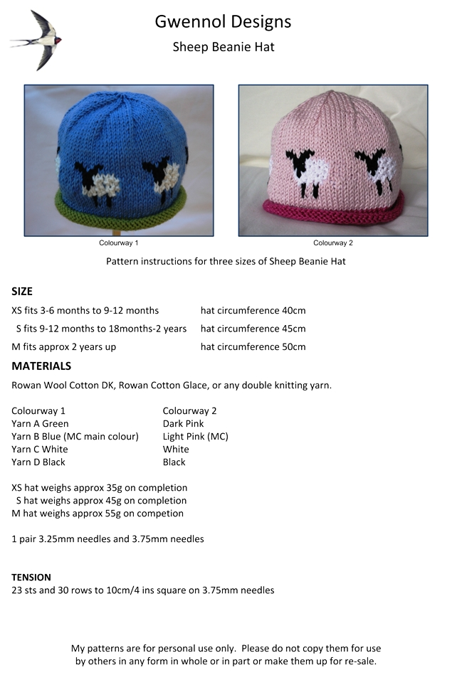 Sheep Beanie Hat PDF Knitting Pattern