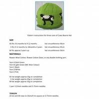 Cows Beanie Hat PDF Knitting Pattern