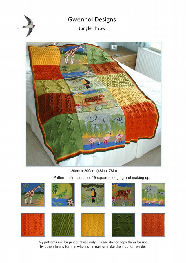 Jungle Throw Knitting Pattern
