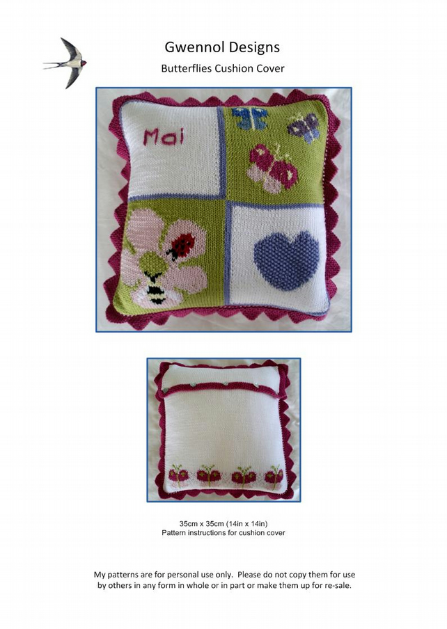Butterflies Cushion Cover PDF Knitting Pattern