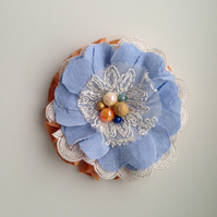 Fabric and lace corsage
