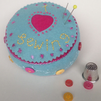 """I Love Sewing"" Wool Felt Pincushion"