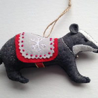 Christmas Badger Tree Decoration