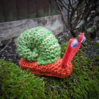 "Cute hand knitted finger snail puppet; ""Sir Clarence Slitherington"""