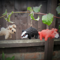 Cute little knitted woodland friends keyrings made to order!