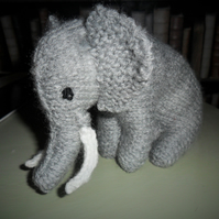 Cute soft grey elephant hand knitted and stuffed!