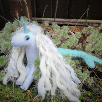Beautiful magical little felt Mericorn with the softest mane and mermaid tail