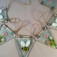 Fused Glass Bumble Bee And Flowers Bunting